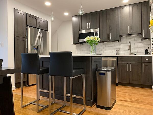 Open concept kitchen with island bar